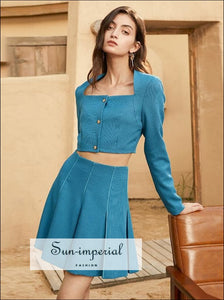 Women Blue Casual Two Piece Skirt Set with Lone Sleeve Square Collar Buttoned Crop top and High casual style, elegant Preppy Style Clothes,