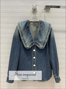 Women Blue Denim Shirt Blouse with Long Sleeve Single Breasted Peter Pan Collar and Ruffle detail casual style, harajuku Preppy Style