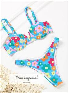 Women Blue Floral Underwire Spliced Bikini Set SUN-IMPERIAL United States