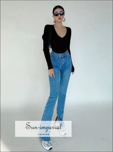 Women Blue High Rise Straight Leg Denim Jeans with side Splits Basic style, casual chick sexy harajuku Preppy Style Clothes SUN-IMPERIAL