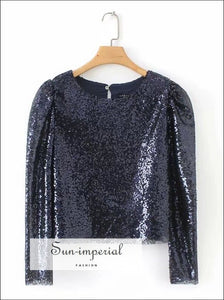 Women blue Sequin Top Blouse Fluffy long Sleeve SUN-IMPERIAL United States