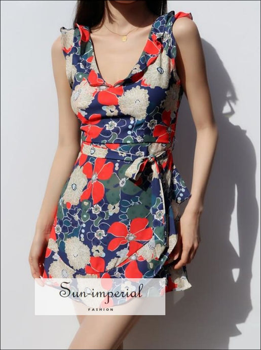Women Blue Sleeveless V Neck with Ruffle detail Tie Waist Floral A-line Mini Dress Beach Style Print, bohemian style, boho casual chick sexy
