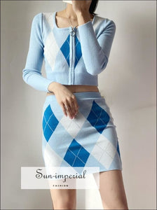 Women Blue Square Neck Zip through front Crop Argyle Knit Cardigan co Ord Knitted Mini Skirt 2 piece, piece set, skirt Basic style, casual