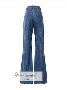 Women Blue Striped High Waist Denim Flare Jeans Jeans, denim, Long Trousers, SUN-IMPERIAL United States
