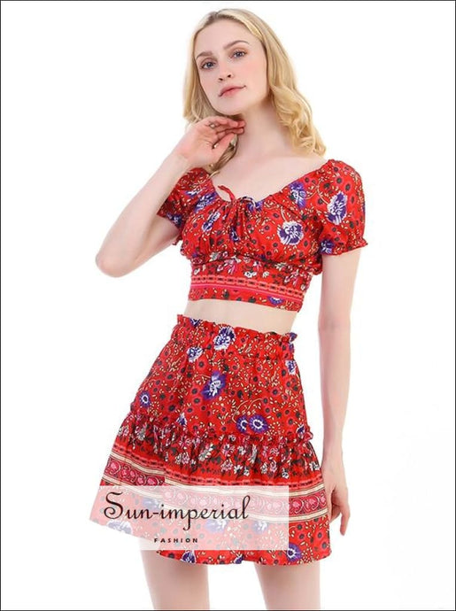 Women Bohemian Hippie Short Sleeve Crop top +skirt Summer Casual Mini 2 Piece Skirt Set best seller, bohemian style, boho, dress, High