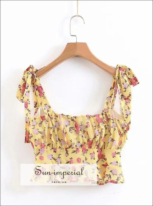 Women Boho Floral Print Yellow Crop top Cropped Sleeveless Summer top for Women