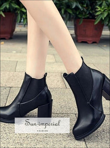 Women Boots Platforms Square Heel Autumn Winter Ankle Paint Leather Fashion Motorcycle SUN-IMPERIAL United States