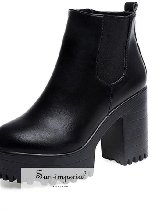 Women Boots Square Heel Platform Pu Leather Thigh High Pump Motorcycle Shoes SUN-IMPERIAL United States