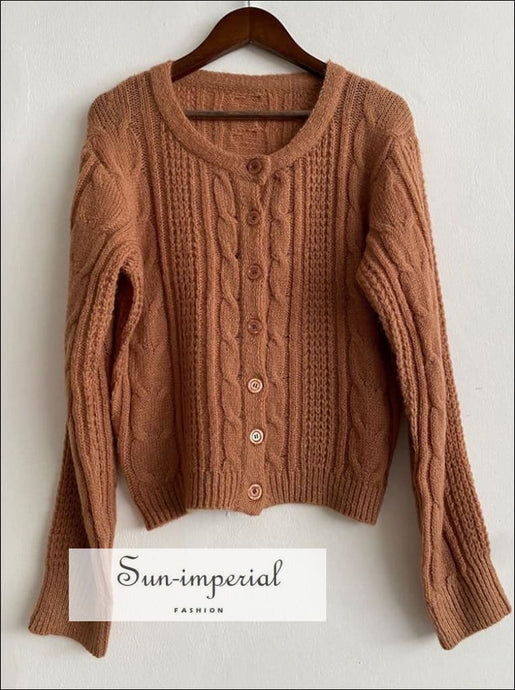 Women Brown Knit Sweater Long Sleeve Vintage Single Breasted Casual Cardigan vintage style SUN-IMPERIAL United States