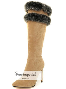 Women Brown Pointed Toe Knee Boots with thin High Heels and Double Grey Fur detail Booties boots, elegant style, knee high boots fur,