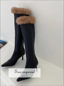 Women Brown Pointed Toe Knee Boots with thin High Heels back Zipper and Fur detail Booties boots, knee high pointed toe booties, women
