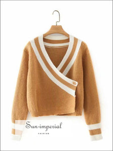 Women Brown V Neck with White Stripe detail Cardigan Sweater side Button Casual Knitted top chick sexy style, Unique vintage style
