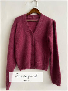 Women Burgundy Mohair Knit Long Puff Sleeve Vintage Sweater Single Breasted Cardigan vintge style SUN-IMPERIAL United States