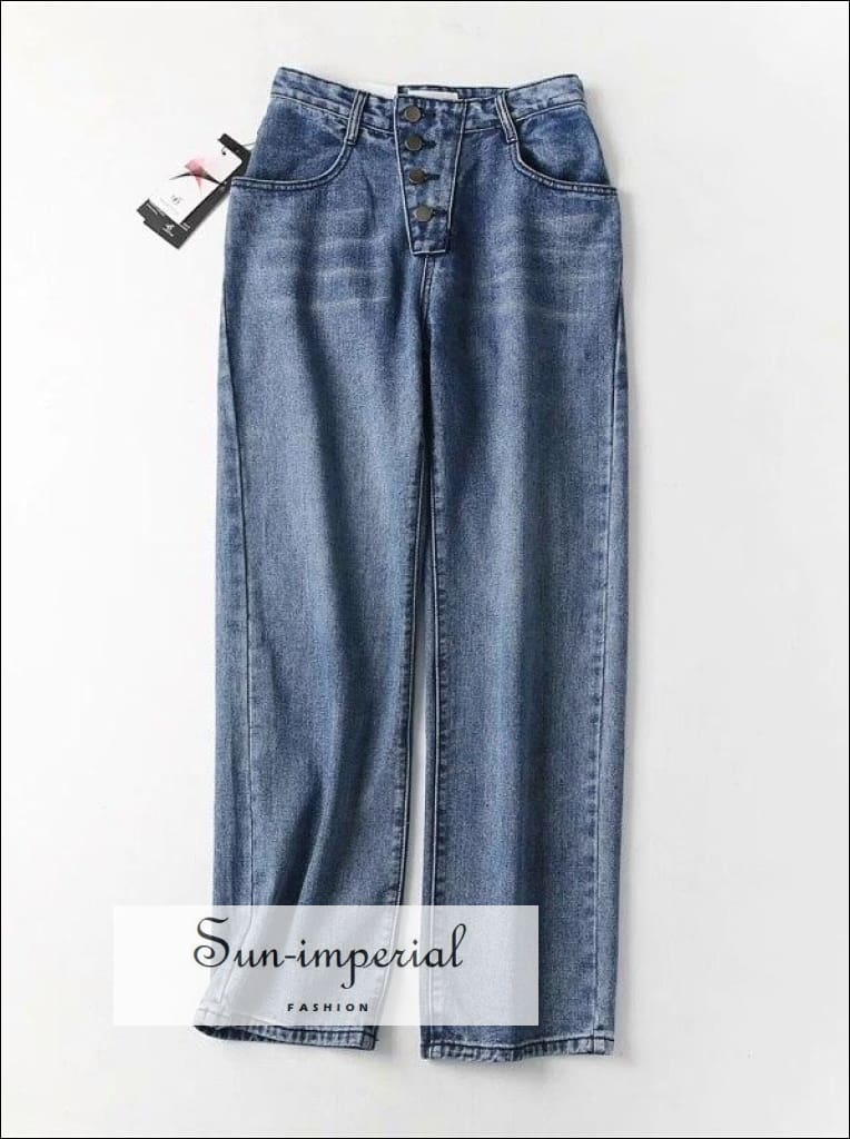 Women Button Fly Wide Leg Jeans In Blue BASIC wide denim wide leg jean wide leg jean women SUN-IMPERIAL United States