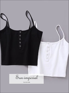 Women Button front Crop Cami top Fashion Camis