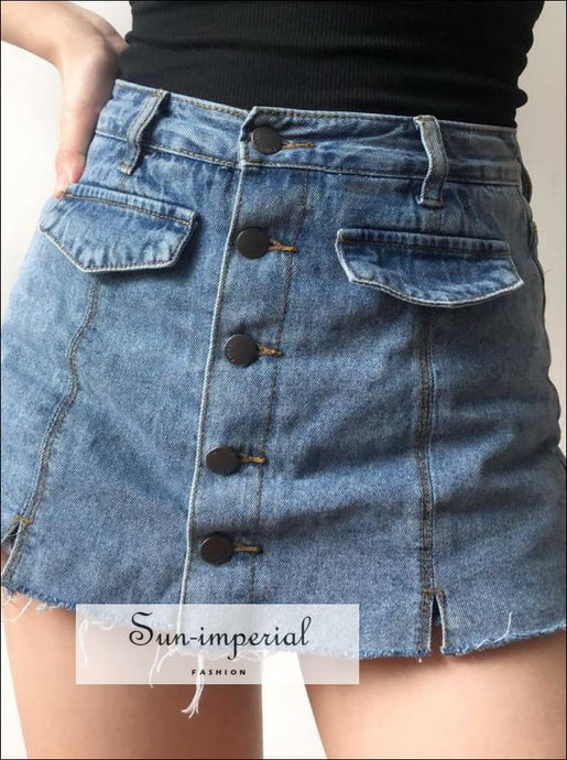 Women Button Front Denim Skirts with Split Details BASIC denim mini skirt SUN-IMPERIAL United States