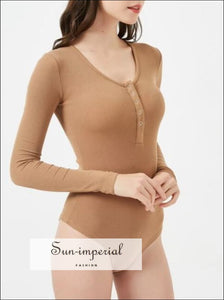 Women Button front Ribbed Bodysuit