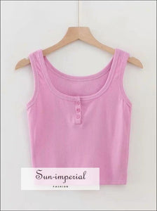 Women Button front Ribbed Tank top Cotton