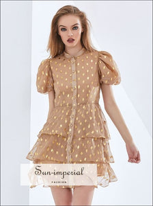 Women Camel Puff Short Sleeve High Neck Buttoned Elegant A-line Mini Dress with Layered Ruffle and Bohemian Style, boho style, elegant