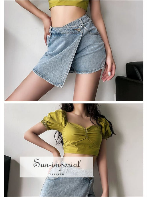 Women Casual an Asymmetric Wrap-style front Denim Shorts with side Pockets Mini Skirt denim shorts, green omen skirt shorts SUN-IMPERIAL