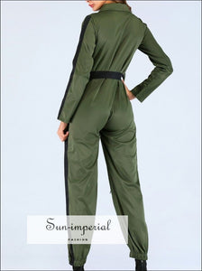 Women Casual Army Green/burgundy Jumpsuit Long Sleeve Solid Zipper