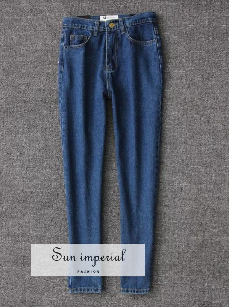 Women Casual Jeans High Waist Ankle Length Jeans Vintage Blue Jeans