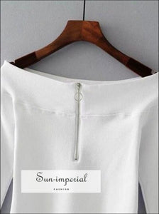 Women Casual off the Shoulder top with Half Zip front BASIC SUN-IMPERIAL United States