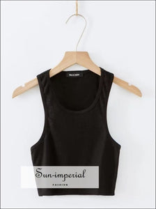 Women Casual Ribbed Tank Crop top
