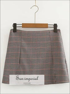 Women Checked Mini Skirt with Two Small front Slits