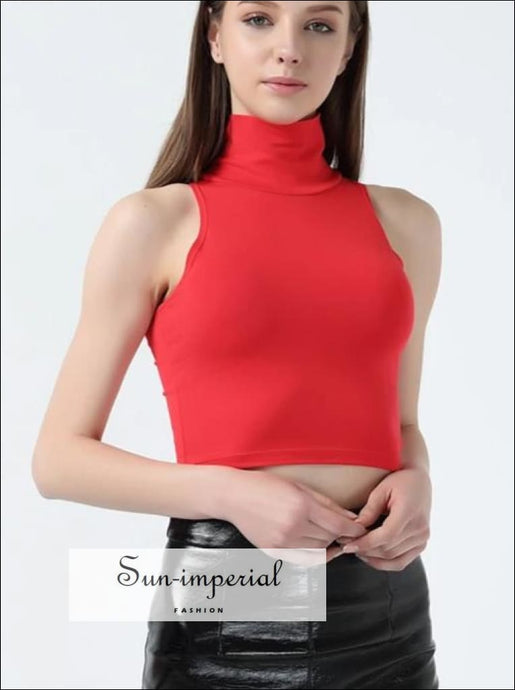 Women Classic Street Style Slim Fit Tube top Casual Turtle Neck Sleeveless Short Tank Crop Tops