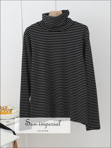 Women Cotton Turtleneck Strip Tops Contrast Basic High Neck Long Sleeve top SUN-IMPERIAL United States