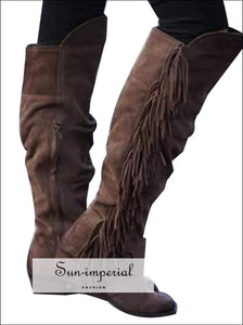 Women Cowboy Boots Vintage Knee High Long Booties SUN-IMPERIAL United States