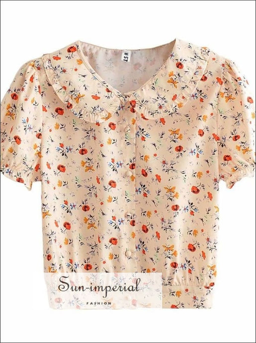 Women Cream Floral Blouse with Turn-down Collar Puff Short Sleeve Casual top casual style women blouse, vintage style, workwear SUN-IMPERIAL