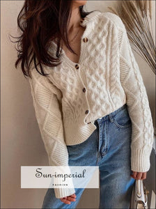 Women Cream Vintage Cable Cardigan Slouchy Style Button Placket Knit top with Ribbed Trims street style, vintage vintagestyle SUN-IMPERIAL