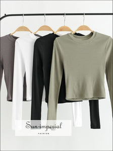 Women Crew Neck Ribbed Long Sleeve Slim Fit Crop T-shirt Crop Tops petite Size BASIC SUN-IMPERIAL United States