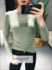Women Crew Neck Ribbed Long Sleeve Slim Fit T-shirt SUN-IMPERIAL United States
