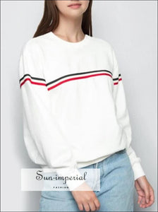 Women Crew neck Striped Sweatshirts Long Sleeve Cotton Sweatshirt Pullovers Tops BASIC SUN-IMPERIAL United States