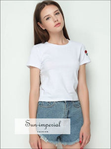 Women Crewneck Soft and Stretchy Cotton Tee Embroidery Rose Short Sleeve T-shirt Cotton Tops BASIC SUN-IMPERIAL United States