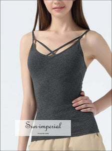 Women Criss Cross Rib Cami Tops Casual Cotton Ribbed Camisole 5 Colors