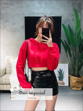 Women Crop Hoodie sweatshirt with Extra Long sleeve ACTIVE WEAR BASIC Sporty sweatshirt SUN-IMPERIAL United States