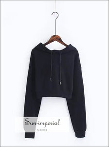 Women Crop Hoodie Sweatshirt with Extra Long Sleeve ACTIVE WEAR, BASIC, Sporty, sweatshirt SUN-IMPERIAL United States