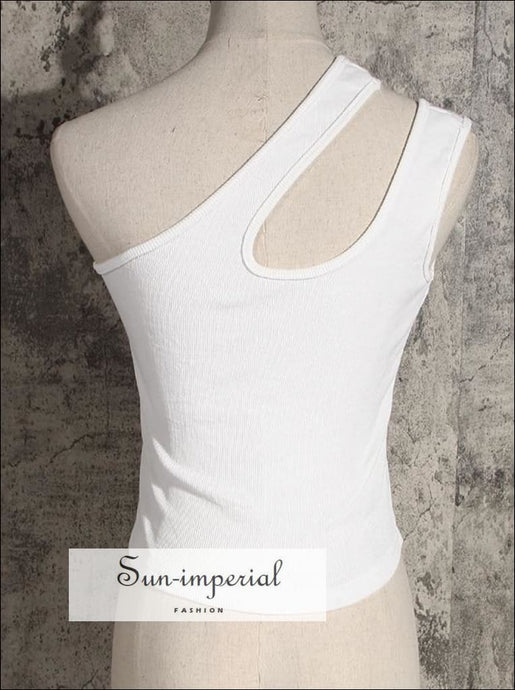 Women Cutaway One Shoulder Rib Cami Crop top SUN-IMPERIAL United States