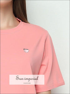 Women Daisy Street Macarons Colors Short Sleeve Tee With Embroidery Casual Short Sleeve T-shirts Emboridered Fruits Tops BASIC SUN-IMPERIAL