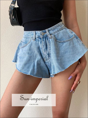 Women Denim Blue Structured A-line Jeans Shorts SUN-IMPERIAL United States
