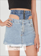 Women Denim High Waist Cut out Two Tone Mini Jeans Skirt a Line Color Block casual style, chick sexy denim mini skirt, harajuku PUNK STYLE