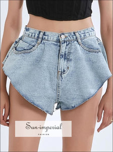 Women Denim High Waist Vintage Loose Washed Blue Structured A-line Jeans Shorts bohemian style, casual chick sexy harajuku Preppy Style