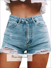 Women Denim Shorts High Waisted Slim Cut BASIC SUN-IMPERIAL United States