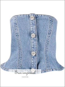 Women Denim Tube Sleeveless Strapless Rhinestones Buttons top SUN-IMPERIAL United States