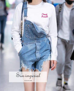 Women Distressed Denim Playsuit Short overall chick sexy style, street wear, denim short Overall SUN-IMPERIAL United States