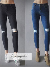 Women Distressed Knee Rolled Hem Skinny Pencil Jeans Fashion Slash Knee Cropped Pencil Jeans SUN-IMPERIAL United States